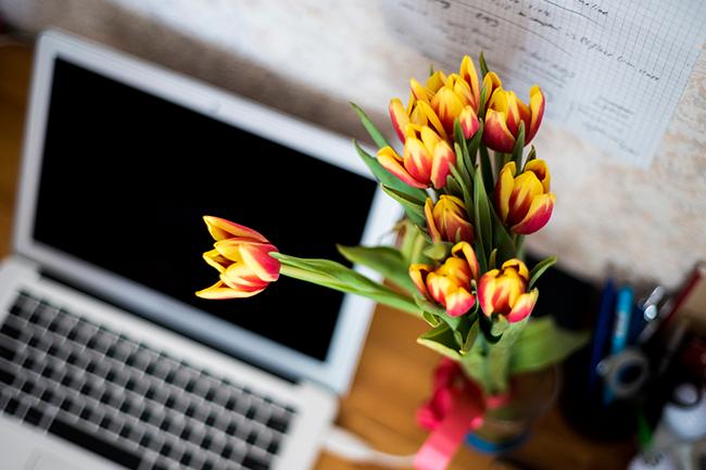 Laptop y flores