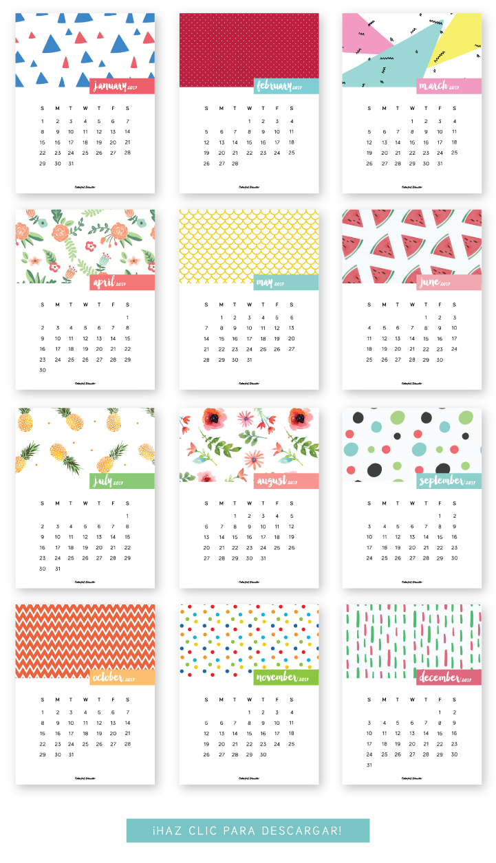 Monthly Printable Calendar 2017