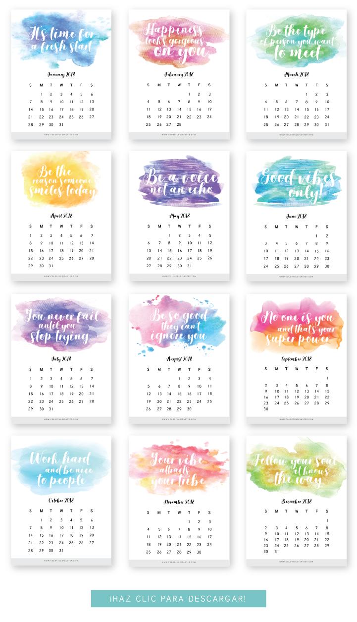 Monthly Printable Calendar 2018