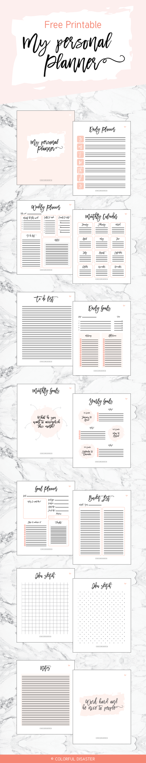 colorful disaster printable personal planner
