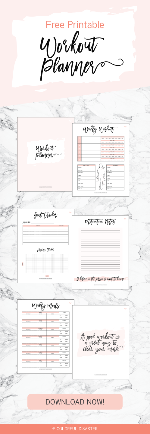 Workout Printable Planner Colorful Disaster