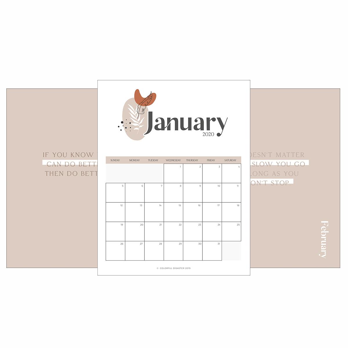 Monthly Printable Calendar 2020